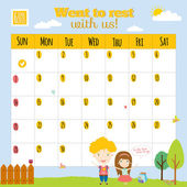 Niezwykły kalendarz do 2015 r. z kreskówek i śmieszne zwierzęta i dzieci z tekstu. — Wektor stockowy