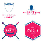 Set of  design of retro party elements — Stock Vector