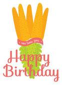 Unusual happy birthday card with carrot bouquet — Stockvektor