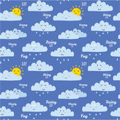 Unusual seamless childish pattern with cartoon and funny smiley weather icon — Stock Vector