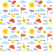 Unusual seamless childish pattern with cartoon and funny smiley weather icon — Vecteur