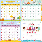 Unusual calendar for 2015 with cartoon and funny animals and kids with place text — Stock Vector