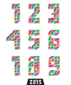 Collection of geometric numbers in bright colors — Vector de stock