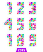 Collection of geometric numbers in bright colors — Stock Vector