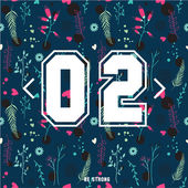 Set of floral seamless pattern with numbers — Stock Vector