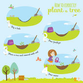 Illustration with time line infographic of planting tree process — Vecteur