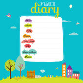 Design elements for notebook, diary, stickers and other template design — Vector de stock