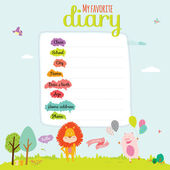 Design elements for notebook, diary, stickers and other template design — Stockvektor