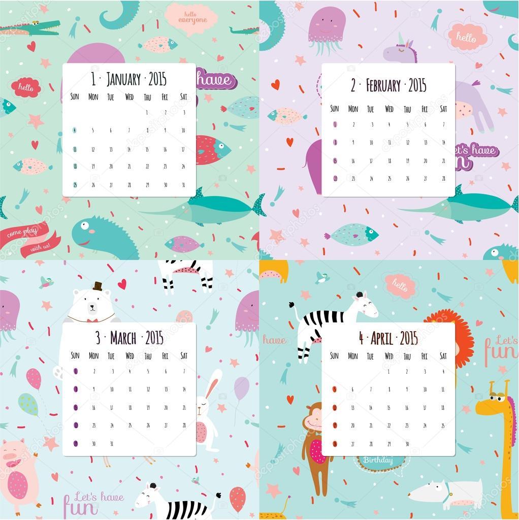 Необычный календарь на 2015 год с карикатуры и забавные животные шаблон.  Векторные иллюстрации в стиле милые.