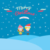 Happy Kids wishes you Merry Christmas in cartoon style. — Stock Vector