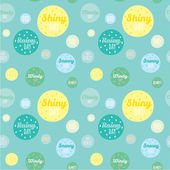 Unusual seamless childish pattern with cartoon and funny smiley weather icons — Vecteur