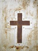 Cruz sobre fondo de puerta — Foto de Stock