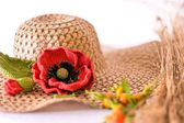 Hat with brooch — Stockfoto