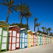Stock Photo: Beach dressing rooms