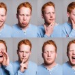 Acting redhead boy — Stock Photo