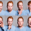 Stock Photo: Acting redhead boy