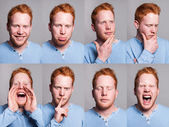 Acting redhead boy — Stock Photo