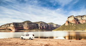 Camped motorhome — Stock Photo