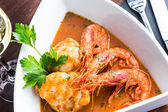 Monkfish with prawn — Stock Photo