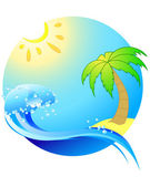 Sea, Travel, beach, climate, island, tropical — Stock Vector