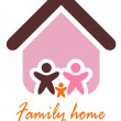 Family and home concept. Silhouette family icon and house. — Stock Vector