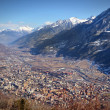 View of city of Aosta, Italy, and its valley — Stock Photo