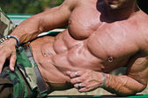Bodybuilder's torso, pecs, abs, leaning on a side — Stock Photo