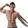 Attractive young muscle man with belt, isolated — Stock Photo