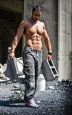 Sexy construction worker shirtless with muscular body — Stock Photo