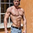Handsome young man shirtless with muscular body wearing jeans — Stock Photo #31329595