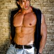 Attractive young man shirtless with jeans leaning against a wall — Stock Photo #31329857