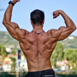 Back of muscular bodybuilder in classic pose — Stock Photo