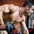 Muscular male bodybuilder working out in gym, exercising triceps — 图库照片