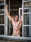 Handsome muscular man naked looking in camera on window frame — Stok fotoğraf
