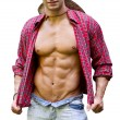Muscular chest of male bodybuilder with open shirt, showing ripped body — Stock Photo #36151565