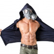 Muscular man wearing antigas mask, naked ripped torso — Stock Photo #37840239