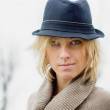 Stock Photo: Pretty blonde girl with fedorhat