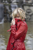 Attractive young woman with red leather jacket — 图库照片
