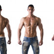 Triple view of shirtless bodybuilder: back, front, side — Stock Photo #44955473