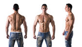 Triple view of shirtless bodybuilder: back, front, side — Stock Photo