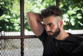 Handsome young man with beard — Stock Photo