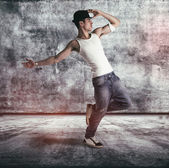 Hip young man doing a dance routine — Stok fotoğraf