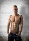 Muscular blond shirtless male — Stock Photo