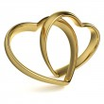 Heart-Shaped Wedding Rings — Stock Photo