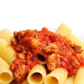 Rigatoni with Sausage-Tomato Sauce — Stock Photo
