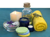 Set of SPA in blue and yellow — Stock Photo