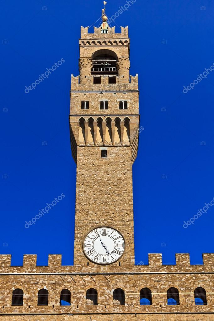 Close up of high part of Palazzo Vecchio, the great Palace at center of Florence, Italy  — Stock Photo #12207808