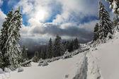 Alba invernale in montagna — Foto Stock