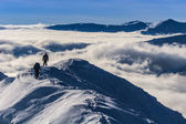 Climbing the mountain in winter — Stok fotoğraf