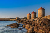 Windmills at Rhodes Greece — Stock Photo